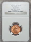 Civil War Merchants, 1863 The Tea Store, Detroit, MI, F-225CE-2a, R.7, MS64 Red andBrown NGC.. Purchased from H. Leonard (5/20/1939) for 30ce...