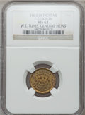 Civil War Merchants, 1863 W.E. Tunis, Detroit, MI, F-225CF-2b, R.8 MS63 NGC..Purchased from James Kelly (5/7/1943) for 35 cents.. FromThe...