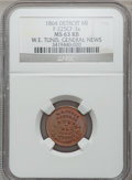 Civil War Merchants, 1864 W.E. Tunis, Detroit, MI, F-225CF-3a, R.9, MS63 Red and BrownNGC.. From The Clifton A. Temple Collection....