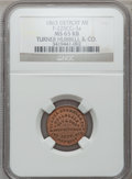 Civil War Merchants, 1863 Turner Hubbell & Co., Detroit, MI, F-225CG-3a, R.7, MS65Red and Brown NGC.. Purchased from H. Leonard (5/20/1939)fo...