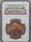 Medals And Tokens, (2009) Medal Bronze Letitia Tyler Brilliant Uncirculated NGC. ...