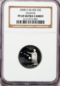 Proof Statehood Quarters, 2008-S 25C Hawaii Silver PR69 Ultra Cameo NGC. NGC Census: (0/0).PCGS Population (3821/255). Numismedia Wsl. Price for pr...