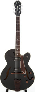 Musical Instruments:Electric Guitars, 1985 Fender D'Aquisto Black Semi-Hollow Body Electric Guitar,Serial # E524092....