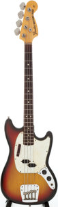 Musical Instruments:Bass Guitars, 1973 Fender Mustang Sunburst Electric Bass Guitar, Serial #395178....