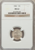 Seated Dimes: , 1884 10C MS62 NGC. NGC Census: (33/275). PCGS Population (46/247).Mintage: 3,365,505. Numismedia Wsl. Price for problem fr...