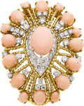 Estate Jewelry:Brooches - Pins, Coral, Diamond, Gold Brooch. ...