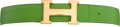 Luxury Accessories:Accessories, Hermes Green Leather H Belt with Gold Hardware. ...