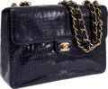 Luxury Accessories:Bags, Chanel Midnight Blue Shiny Crocodile Jumbo Single Flap Bag withGold Hardware. ...