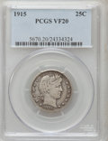 Barber Quarters: , 1915 25C VF20 PCGS. PCGS Population (8/584). NGC Census: (0/386).Mintage: 3,480,450. Numismedia Wsl. Price for problem fre...