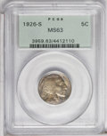 Buffalo Nickels: , 1926-S 5C MS63 PCGS. The unusual toning pattern on this key datenickel will please proponents of originality. The golden-g...
