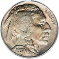 Buffalo Nickels: , 1937-D 5C Three-Legged MS63 PCGS. Mottled peach-gold andolive-green shades embrace this satiny and relatively unabradedke...