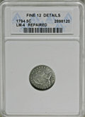 Early Half Dimes: , 1794 H10C --Repaired--ANACS. Fine 12 Details. V-4, LM-4, R.4. Thishairlined slate-gray Flowing Hair half dime has a flat, s...
