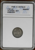 Early Half Dimes: , 1797 H10C 15 Stars--Damaged--ANACS. Fine 12 Details. V-2, LM-1,R.3. A moderately worn pewter-gold piece that has several h...