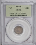 Early Half Dimes: , 1797 H10C 16 Stars VF20 PCGS. V-4, LM-2, R.4. Pastel gold andlavender toning envelops this nicely detailed Draped half dim...