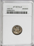 Early Half Dimes: , 1800 H10C --Damaged--ANACS. XF Details. V-1, LM-1, R.3. A nicelystruck and lightly worn example that has pleasing blue-viol...