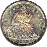 1839 H10C No Drapery MS66 PCGS. V-2. Much scarcer than the 1838 No Drapery variety. The 3 and 9 are obviously recut, and...