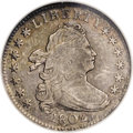 Early Dimes: , 1802 10C AU55 NGC. JR-4, R.4. Rich golden-brown and dove-graypatination drapes this high grade better date Draped Bust dim...
