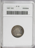 1807 10C Fine 15 ANACS. JR-1, R.2. Red, blue, and gold accents add color to the moderately worn dove-gray surfaces. Two...
