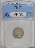 Early Dimes: , 1807 10C VF30 ANACS. JR-1, R.2. A moderately worn but pleasingexample with russet and gold peripheral patina around a silv...