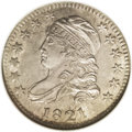 Bust Dimes: , 1821 10C Large Date MS64 NGC. Ex: Reed. JR-1, R.2. Light chestnutand powder-blue toning graces this satiny and generally s...