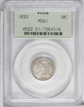 Bust Dimes: , 1833 10C MS61 PCGS. JR-1, R.3. Light cream-gray and olive toningenriches this sharply struck and satiny representative. A ...