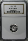 Proof Roosevelt Dimes: , 1953 10C PR68 Cameo NGC. A shining piece that has a fine layer ofsilver-gray patina, unusual for a coin so recent. Sharply...