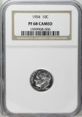 Proof Roosevelt Dimes: , 1954 10C PR68 Cameo NGC. The lightly frosted devices contrastnicely with the deeply reflective, brilliant fields. NGC has ...