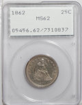 Seated Quarters: , 1862 25C MS62 PCGS. Well struck with gold-tinged gray patina thatcovers the subdued luster. The devices are clean for the ...