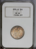 Seated Quarters: , 1876-CC 25C MS64 NGC. Type Two Reverse. A lustrous and solidlystruck piece from the legendary Carson City Mint. Red, orang...