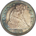 Seated Quarters: , 1882 25C MS66 PCGS. Fully toned in waves of aquamarine, peach, andplum-red. Well struck throughout the major devices, alth...
