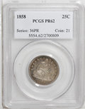 Proof Seated Quarters: , 1858 25C PR62 PCGS. A fully defined and deeply mirrored proofexample of this popular date, an important entry in the serie...
