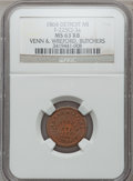 Civil War Merchants, 1864 Venn & Wreford, Detroit, MI, F-225CJ-3a, R.9, MS63 Red andBrown NGC.. Purchased from H.E. Wilson (9/24/1940) for 11...