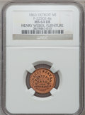 Civil War Merchants, 1863 Henry Weber, Detroit, MI, F-225CK-4a, R.7, MS64 Red and BrownNGC.. Purchased from H. Leonard (5/20/1939) for 30 cent...