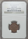 Civil War Merchants, 1863 Henry Weber, Detroit, MI, F-225CK-6a, R.7, MS64 Brown NGC..From The Clifton A. Temple Collection....