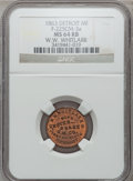 Civil War Merchants, 1863 W.W. Whitlark, Detroit, MI, F-225CM-3a, R.7, MS64 Red andBrown NGC.. Purchased from J. Barnet (8/15/1939) for 25cen...