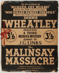 Books:Mystery & Detective Fiction, Dennis Wheatley. The Malinsay Massacre. Planned by J. G. Links. London: Crime-Book Society, [1938]. First edition o...