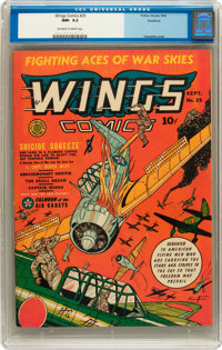 Wings Comics #25 Rockford pedigree (Fiction House, 1942) CGC NM- 9.2 Off-white to white pages