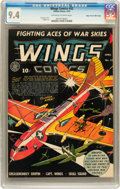Golden Age (1938-1955):War, Wings Comics #32 Mile High pedigree (Fiction House, 1943) CGC NM9.4 Off-white to white pages....