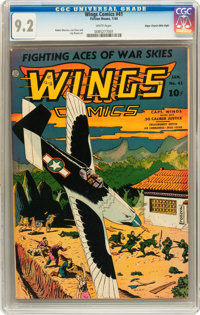 Wings Comics #41 Mile High pedigree (Fiction House, 1944) CGC NM- 9.2 White pages