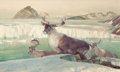 , JOHN FORD CLYMER (American, 1907-1989). Caribou Country. Oil on canvas. 23 x 40 inches (58.4 x 101.6 cm). Signed lower l...