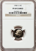 Proof Roosevelt Dimes: , 1980-S 10C PR69 Cameo NGC. NGC Census: (14/0). PCGS Population(3/0). (#85260)...