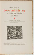 Books:Books about Books, [Books about Books]. Charles T. Jacobi. Some Notes on Books and Printing. A Guide for Authors and Others. London...