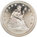 Proof Seated Quarters: , 1863 25C PR66 Cameo NGC. Only 460 recorded proofs were produced ofthis Civil War-era issue, low even by the standards of t...
