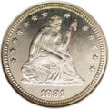 Proof Seated Quarters: , 1881 25C PR66 NGC. A razor-sharp proof, with deeply reflectivemirror-like fields and a hint of natural patina. The contact...