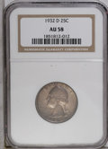 Washington Quarters: , 1932-D 25C AU58 NGC. A touch of highpoint friction is difficult todetect. This attractive piece has nearly full luster and...