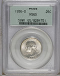 Washington Quarters: , 1936-D 25C MS65 PCGS. A satiny Gem with smooth design elements.Primarily golden-gray with a few deeper freckles of gunmeta...
