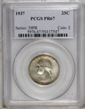 Proof Washington Quarters: , 1937 25C PR67 PCGS. Heavy silver-gray patina covers much of the lustrous surfaces, while reddish-orange appears at the peri...