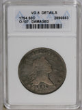 """Early Half Dollars: , 1794 50C --Damaged--ANACS. VG8 Details. O-107, R.6. The numerals""""1876"""" are crudely engraved above the date, and a hole betw..."""
