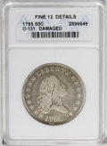 Early Half Dollars: , 1795 50C 2 Leaves--Damaged--ANACS. Fine 12 Details. O-131, HighR.4. Numerous pockmarks pepper the obverse devices of this ...