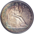 Seated Half Dollars: , 1852-O 50C MS62 NGC. A bold striking with prooflike tendenciesunder attractive layers of lilac-gray, turquoise, and burnt-...